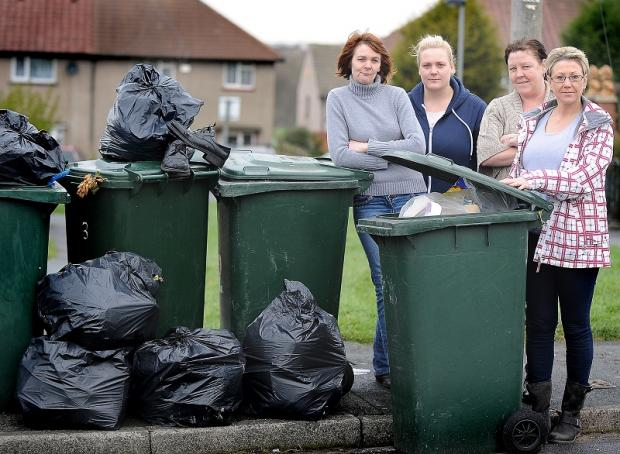 Newill Close residents Dawn Reed, Rebecca Reed, Angela Palmer and Kiki King, with uncollected rubbish bins