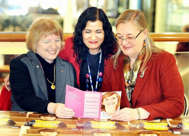 Councillor Ruth Billheimer with Councillor Sarah Ferriby and acting screening co-ordinator Arshad Hussain