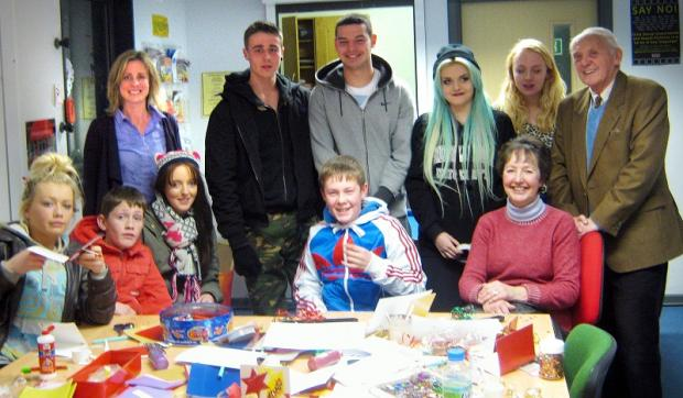Baildon  councillors Debbie Davies, Roger L'Amie and Val Townend with members of the Denholme Youth Cafe