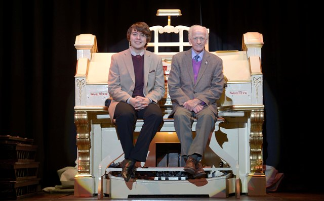 Frank Senior and James Kenny with the Wurlitzer