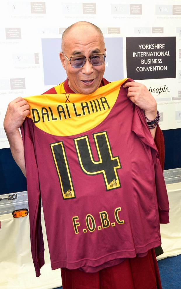 The Dalai Lama with a Bradford City shirt