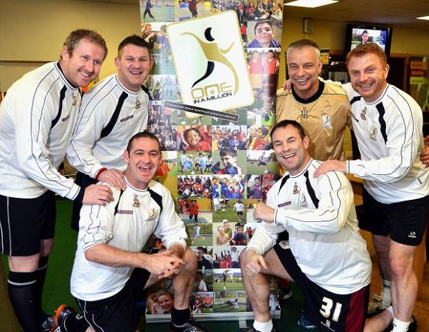 One in a Million players Anthony McGrath, Dean Windass, Lee Duxbury, Peter Beagrie, Brian Noble and Wayne Jacobs
