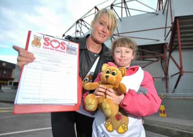Sharon Cheng and Amy Newall collect signatures for the Save Our Surgery petition at Valley Parade in 2011