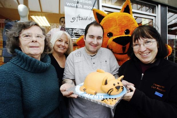 From left, Sara Atkinson, trustee Rita Raby, fundraising manager Paula Godfree and Darren Judson of Fortunes Fairy Tale Cakes.