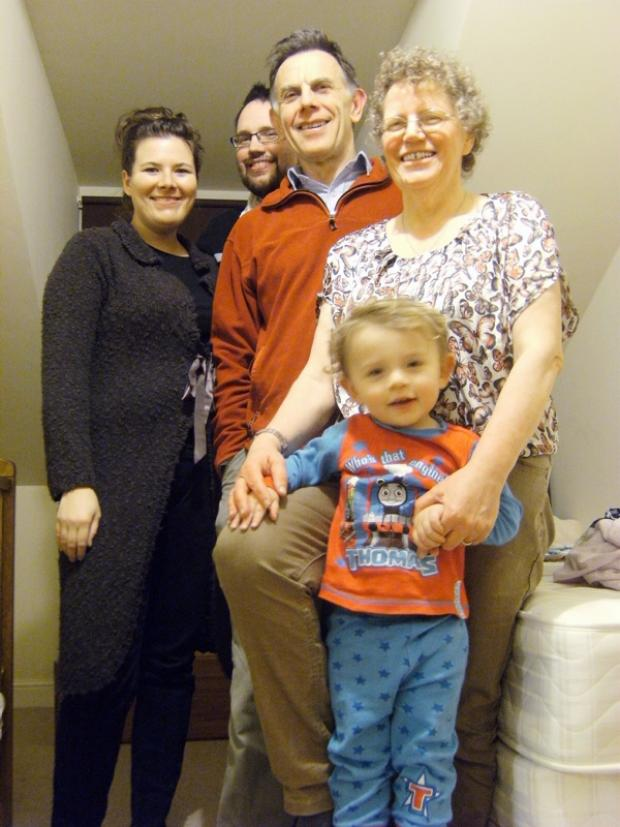 Liz Yaxley, right, with her daughter-in-law Caroline Yaxley, son Andy, husband John and her grandson Malachi after her weight loss