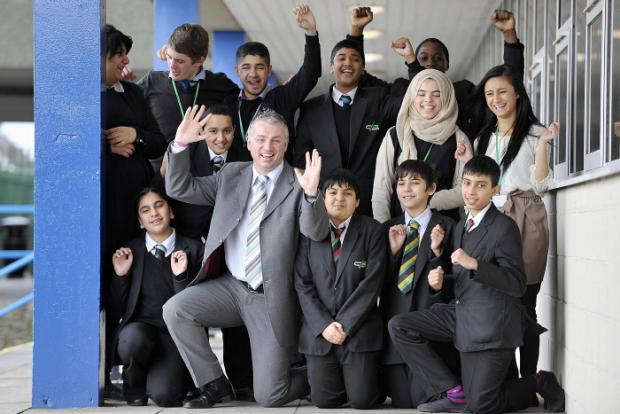 Acting headteacher Andy Taylor pictured with pupils