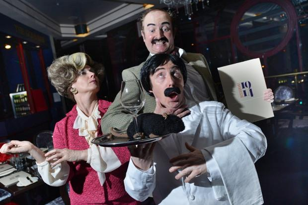 Wren Chapman, Michael Wilson-Green and Paul Nolan as Sybil, Basil and Manuel last night