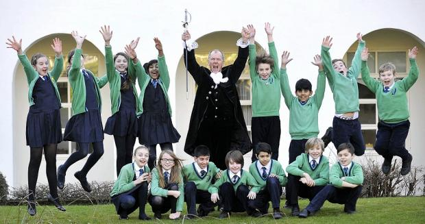 High Sheriff of West Yorkshire Stephen Davidson with pupils from Lady Lane Park School, Bingley