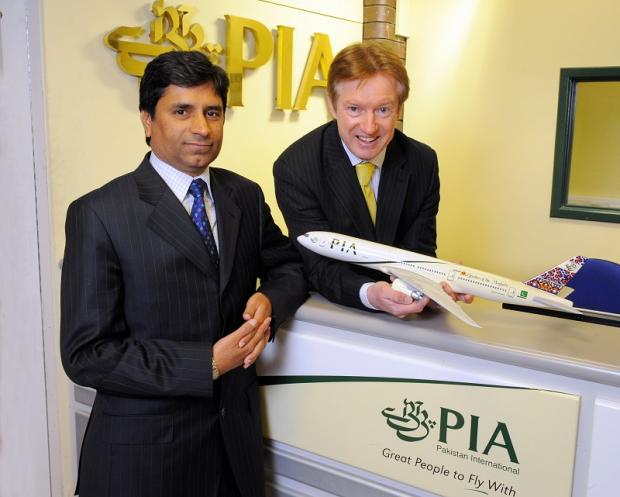 PIA manager Muhammad Shafique with Tony Hallwood, the airport's commercial director.