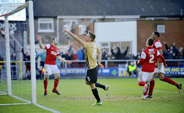 Ryan Dickson celebrates scoring his first City goal at Fleetwood