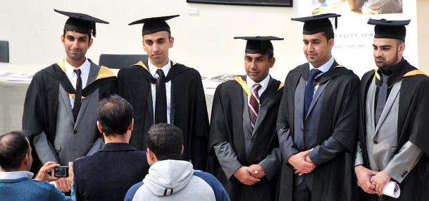 Graduates at the University of Bradford – but parts of the city have the worst rates of educational under-achievement in the country