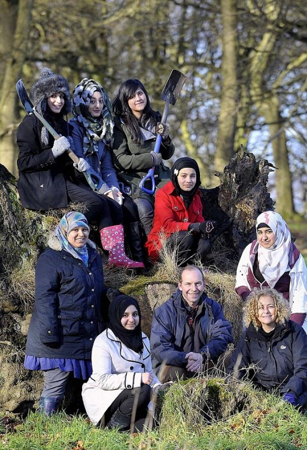 PLAN: Students pictured with Ian Butterfield of Forest of Bradford and assistant head teacher Vlad Waley at the nature haven used as an outdoor classroom