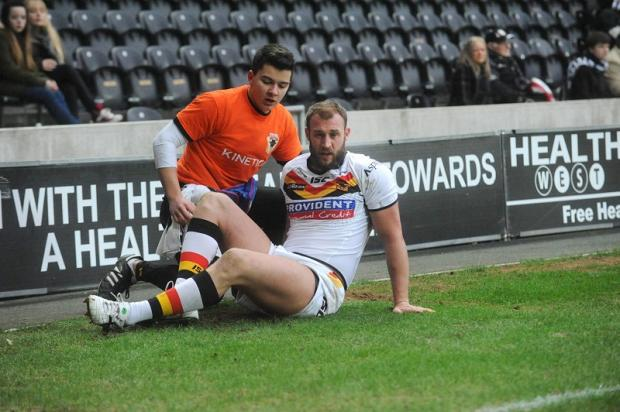 Bradford Telegraph and Argus: Michael Platt was knocked out in a tackle on Jason Crookes at Hull FC on Sunday