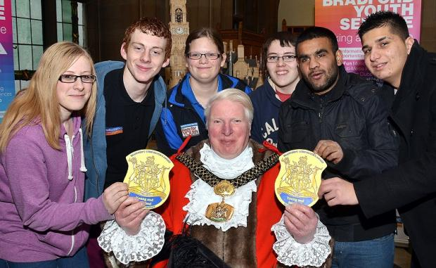 Award launch: Lord Mayor of Bradford Councillor Dale Smith with, from left, Amy Webster, Robert Pemberton, Kim Parkinson, Matthew Dine, Sohail Afzal and Peter Dirda