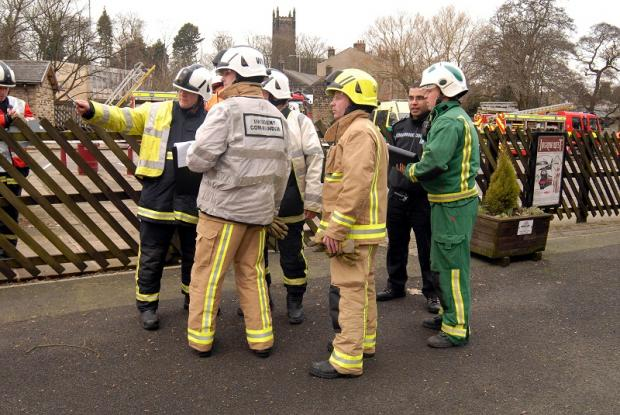 Emergency services staff at the mock incident