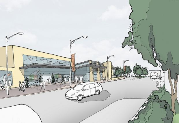 An artist's impression of the supermarket at the junction of Otley Road and Valley Road