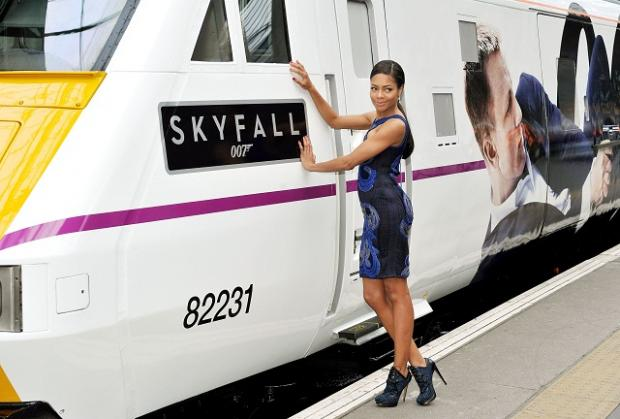 Actress Naomie Harris, who played Eve Moneypenny in Skyfall with the new train named after the hit film