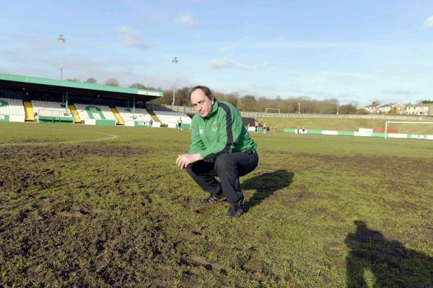 GAME OFF: Avenue kit manager Dave Wilson surveys the Horsfall pitch that was ruled unplayable