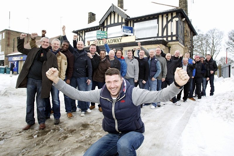 Matt Duke celebrated with former team-mates from his pub team Bradway FC in Sheffield after his semi-final heroics against Aston Villa in the Capital One Cup