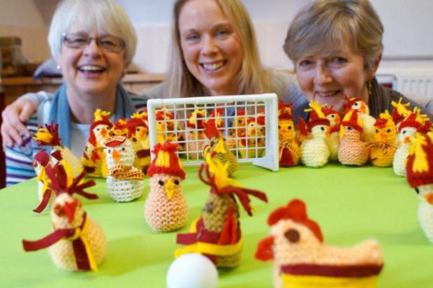 from left, Angela Lloyd-Roberts, Louise Flint and Lucy Tiffany with some of the Bantams creations