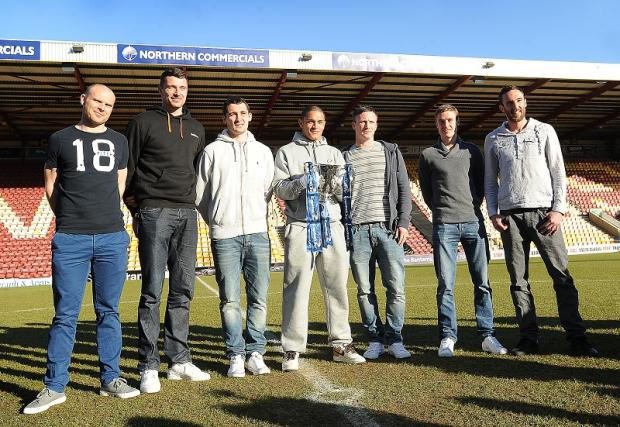 Rory McArdle, right, joined his City team-mates for their pre-cup final media duties as he returned to training in a bid to prove his fitness for Wembley