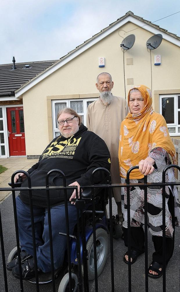 Fred Vickers pictured with neighbours Mr and Mrs Semur in Scholemoor Lane