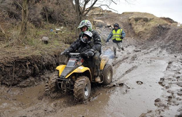 Bike enthusiasts gathered at the Flappit Quarry site in 2009 to oppose its closure as an off-road track