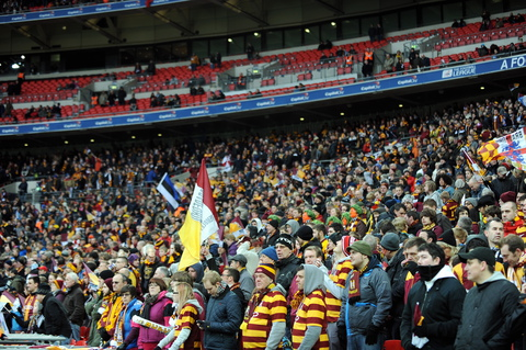 Fans cheer City on at Wembley