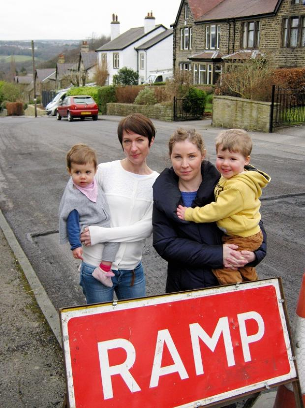 Bradford Telegraph and Argus: Nab Wood residents, from left, Anne Villien with Lilly, and Aoife Aston with Seamus.