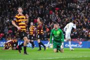 Miguel Michu, right,  scores Swansea's second goal but things were to go from bad to worse for City keeper Matt Duke