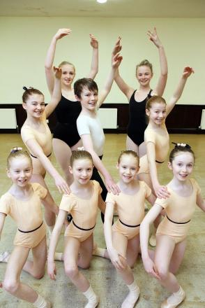 Success: The dancers who have gained places at the English National Ballet, from left, Katie Johnson, Jess Leeming, Claire Chapman, Leah Robinson, Lewis Day, Niamh Alvey, Elizabeth Denby, Emily Jardine-Rowley and Isabelle Roche