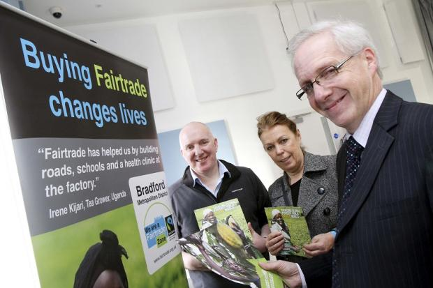 Town centre manager Philip Smith, right, at the event with Richard Dillon and Linda Gomila.