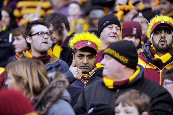 Bradford City fans inside Wembley