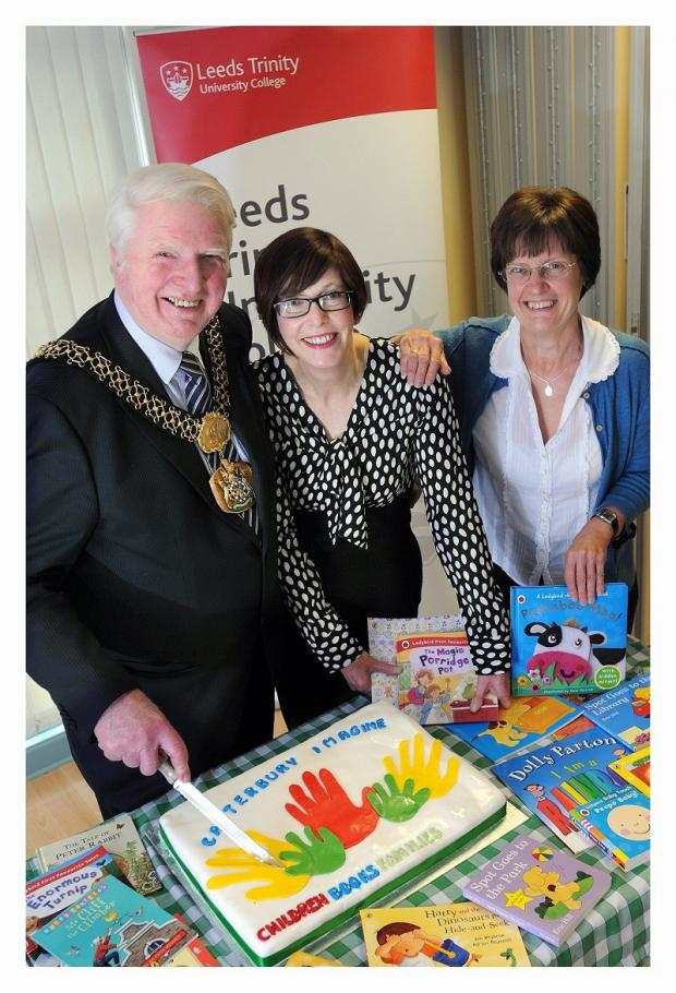 Pictured at the launch are the Lord Mayor of Bradford Dale Smith, scheme organiser Jan Winter and Chris McKay, head of Canterbury Nursery School and Centre for Children and Families.