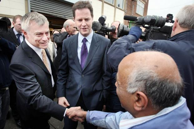 MP David Ward with Nick Clegg in April 2010