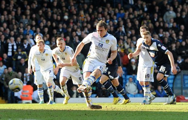 PENALTY KING: Stephen Warnock makes no mistake for Leeds after Ross McCormack had missed an earlier spot-kick
