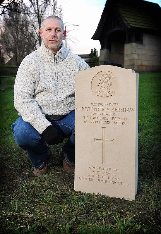 Brian Kershaw with the headstone for son Christopher