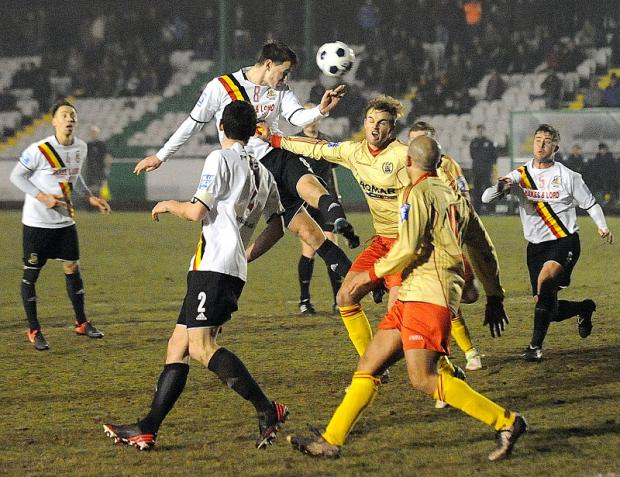 Bradford Park Avenue in action during Monday's win against Workington