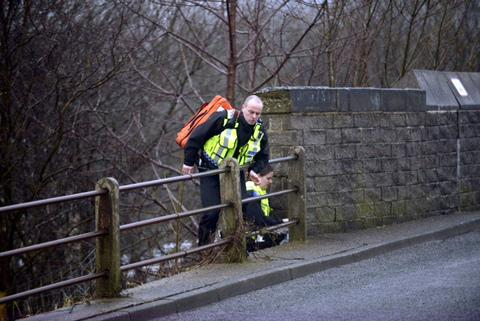 Police close to the scene of this morning's incident in Saltaire