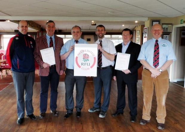 From left, RFU community development officer Hamish Pratt, Cleckheaton RUFC president Alan Bentley, chairman Neil Gillan, juniors chairman Andy Clark, junior treasurer Steve Hutton and Cleckheaton RUFC secretary Ian Johnson