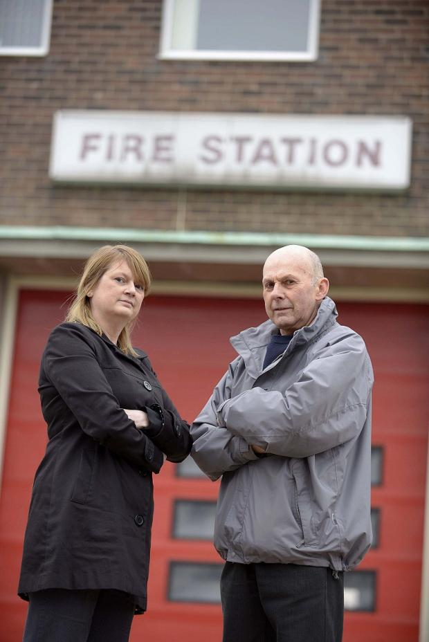 CONCERNS: Councillors Tracey Leeming, David Gray are pictured outside Idle Fire station. They are calling for  more privately-rented houses and flats to be made safer