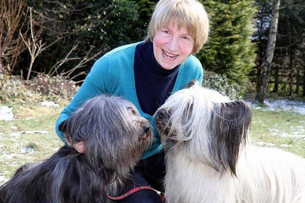 Margaret and her award-winning two Skye Terriers Jinty and Minnie