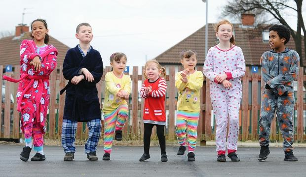 Pupils at Swain House Primary School joined a giant sponsored Gangnam-style dance in their pyjamas. Left to right are Miah Woodley, Calum Coates, Alissa Davis, Amy Lee, Phobie Davis, Ellis Kenworthy and Kamarni Crawford