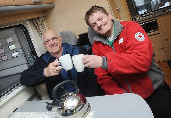 Mark Halliday from the British Red Cross with new volunteer Allen Bottomley, 71, at Idle Fire Station