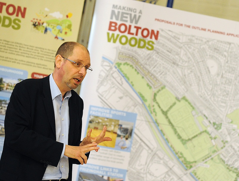 Andy Dainty, from Urbo, at the presentation for the new Bolton Woods development