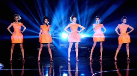 Girls Aloud, including Kimberley Walsh, on stage