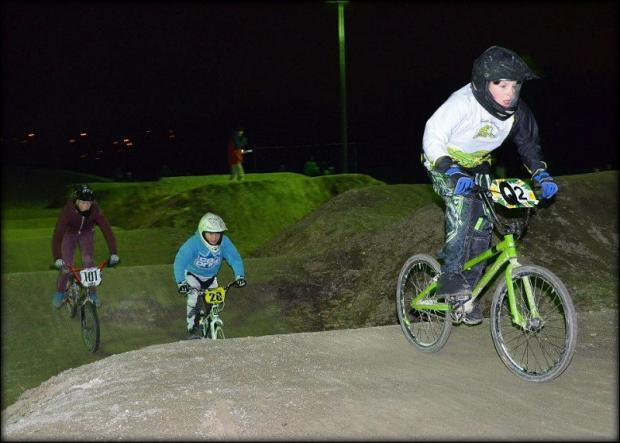 Alexander Grice has plenty of layers on in this BMX race at Peel Park