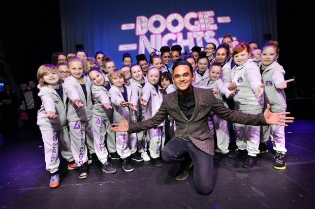 Gareth Gates with kids from his Bradford Theatre School on stage at St George's Hall Bradford