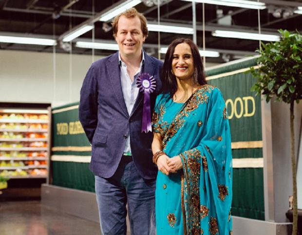 Rahila Hussain, winner of ITV's Food Glorious Food, with food author and writer Tom Parker-Bowles