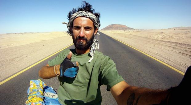 Christopher Stanfield during his trek across Africa